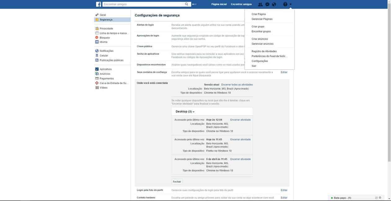 Dicas para Facebook - Desconectar remotamente